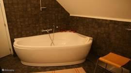 Luxe badkamer met 2-persoons bad, 2 wastafels en een Finse sauna.