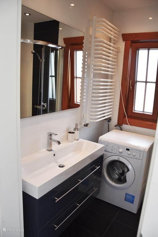 Badkamer met een brede wastafel, douche, wc en wasmachine