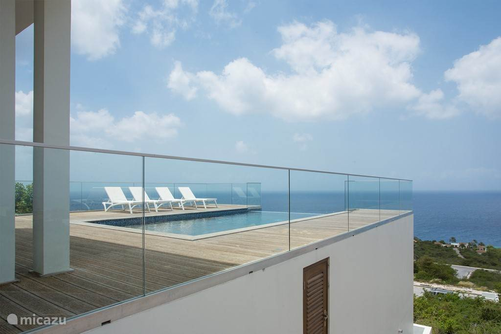 Private pool and terrace, view from parking lot