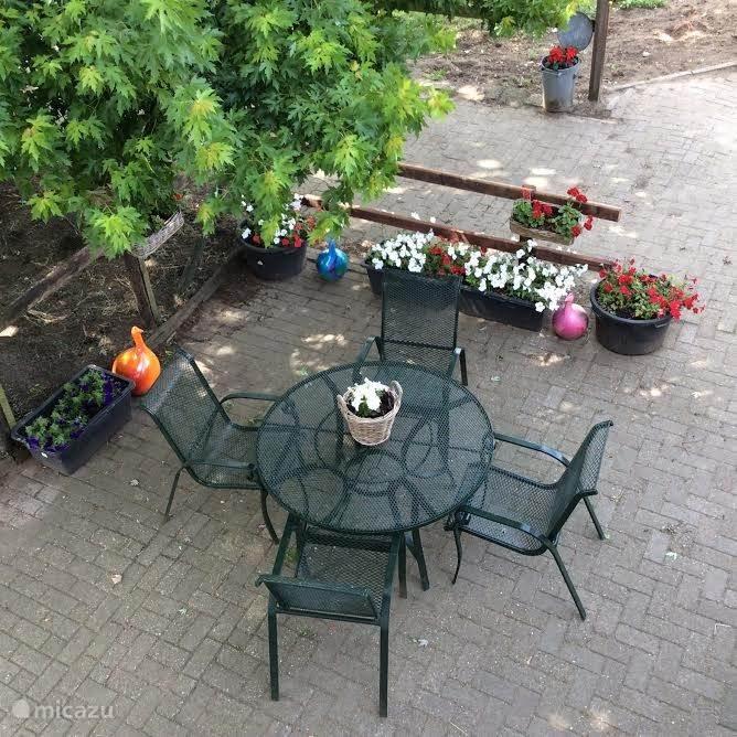 Uw eigen terras en u wordt alleen bekeken door gezellig kletsende kippen...