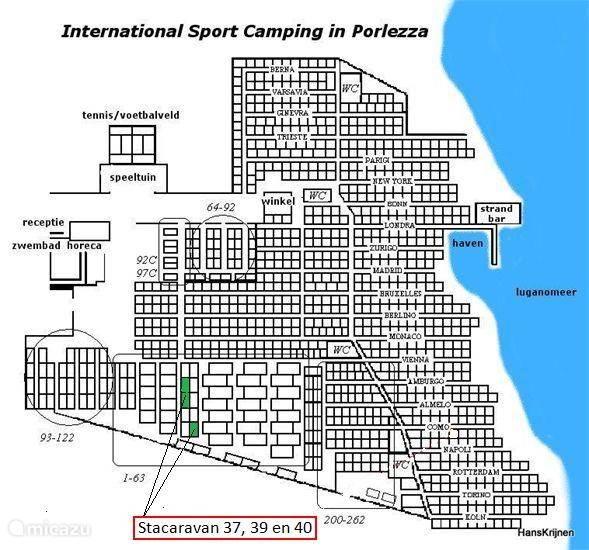Hier de locatie van de stacaravans