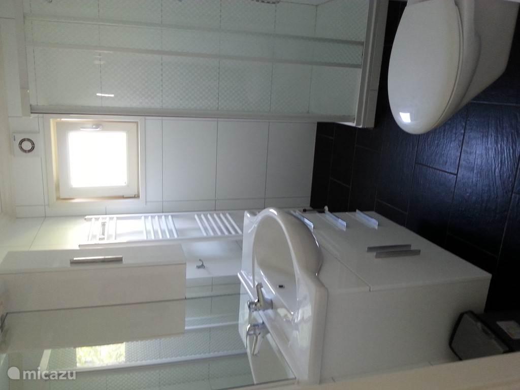 de moderne badkamer met douche, toilet en badmeubel met veel kastruimte en mechanische ventilatie