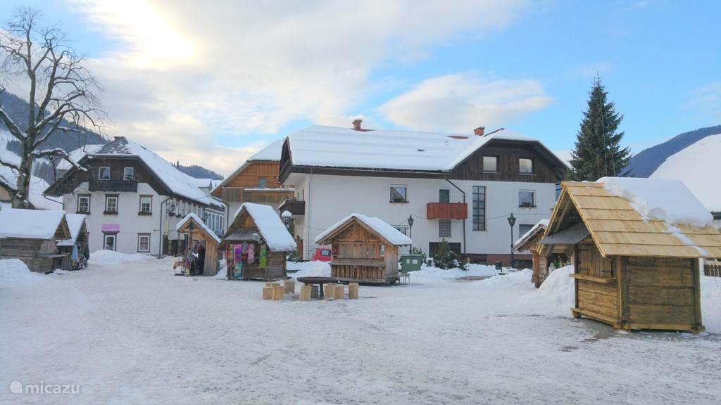 Het plein in de winter