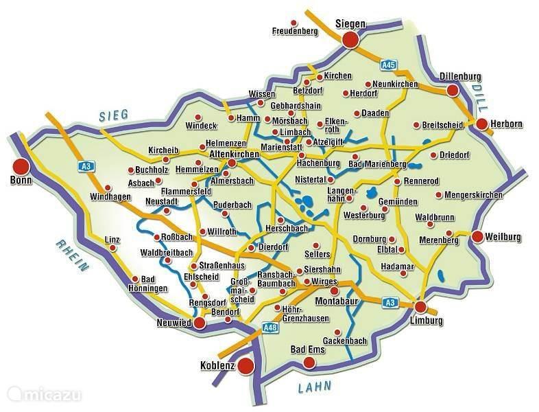 kaart Westerwald