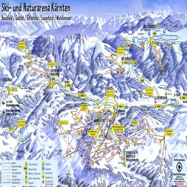 The many ski slopes nearby