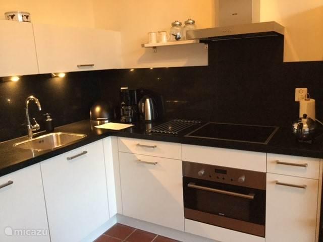 Open keuken met vaatwasser, keramische kookplaat, koelkast met diepvries