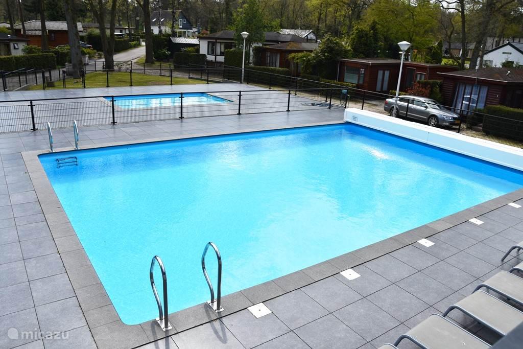 Heerlijk verwarmd zwembad op kleine loopafstand van de bungalow.