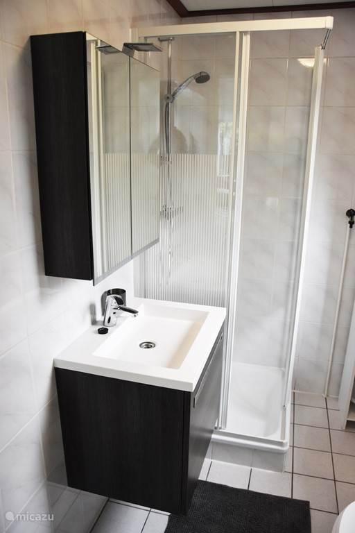 Badkamer met douchecabine en wastafel.