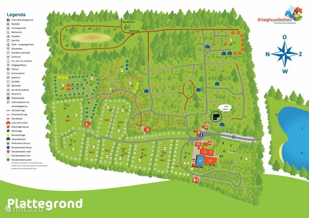 Plattegrond park, zwarte hoekgedeelte omcirkeld met nummer 2 is het chalet