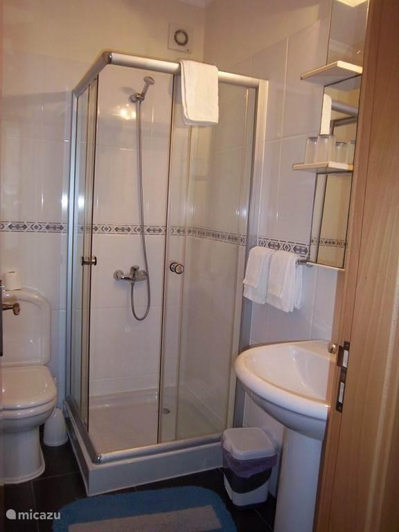 De badkamers voor slaapkamer 2 en 3 met oa een toilet - douche en vaste wastafel