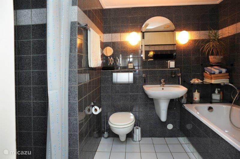 Badkamer. Luxe badkamer met douche en ligbad.