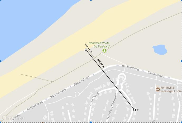 de afstand tot het strand