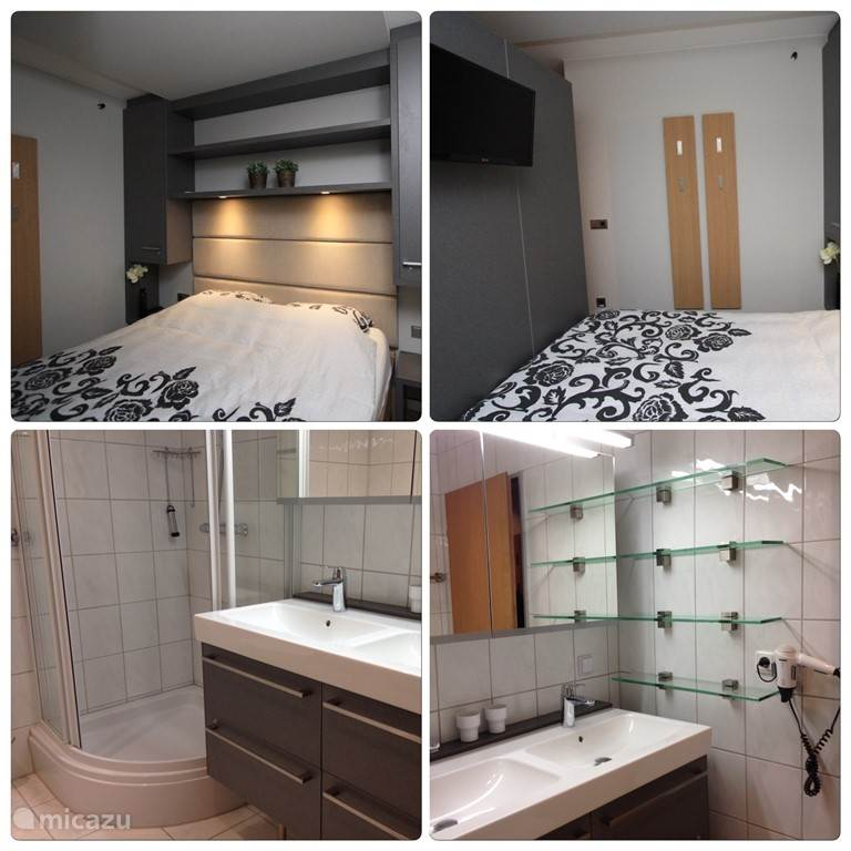 Bedroom with double bed. Bed and TV with Dutch channels Bathroom with shower cubicle, toilet and wall-washbasin with double sink and hair dryer