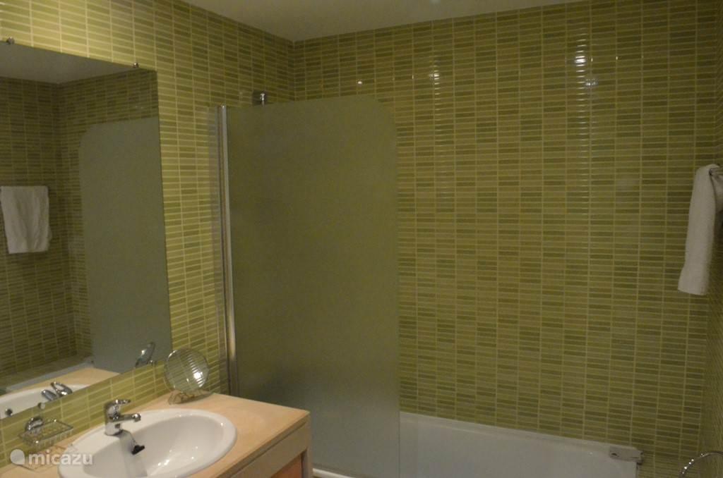 Badkamer met douche, ligbad en toilet