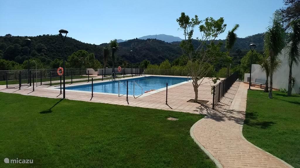 een groot zwembad met ligweide