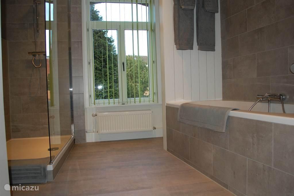 Badkamer met wc, ligbad en inloopdouche