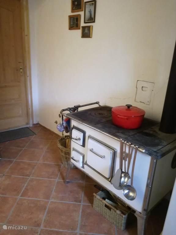Originele houtgestookt fornuis, die in de winter ook gebruikt kan worden om op te koken