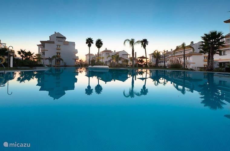 Het grote zwembad, op 40 meter van het appartement