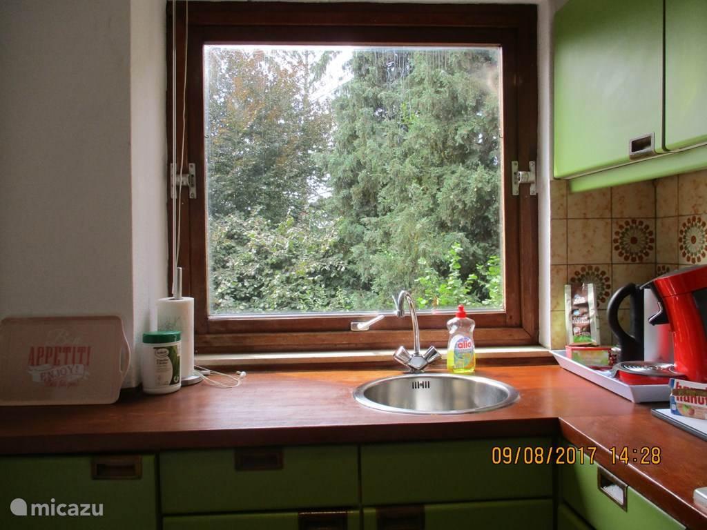 Keuken met uitkzicht over tuin