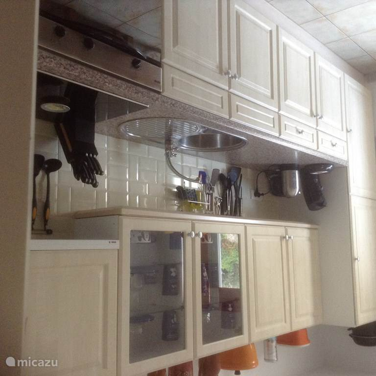 Keuken met ijskast, vriezer en oven