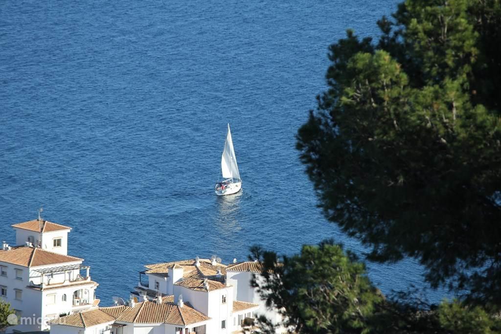 Vrij uitzicht op zee vanaf het terras, woonkamer en slaapkamer