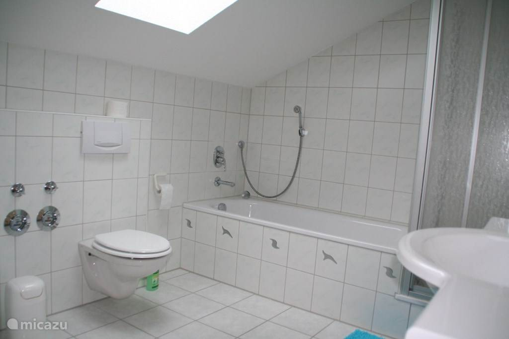 Badkamer met ligbad, douche en WC