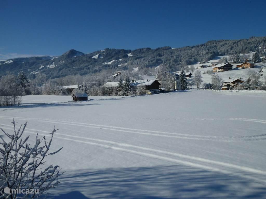 Uitzicht vanaf de woning in de winter