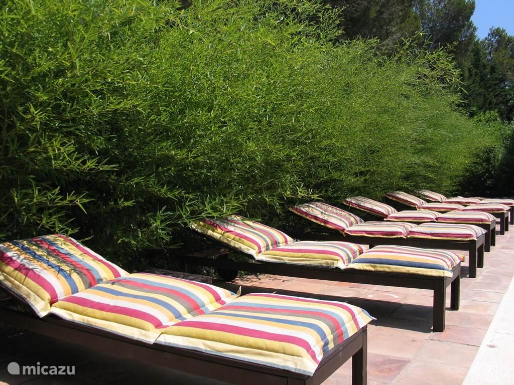 Comfortabele ligbedden voorzien van kussens aan het Privézwembad