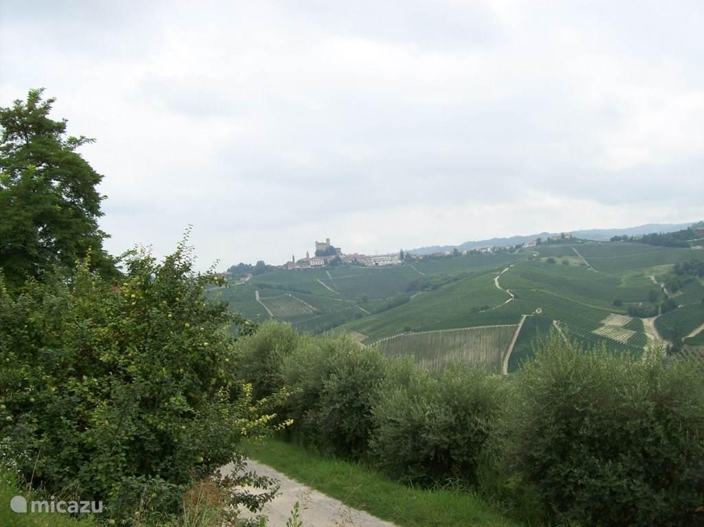 Uitzicht op het kasteel van Serralunga.