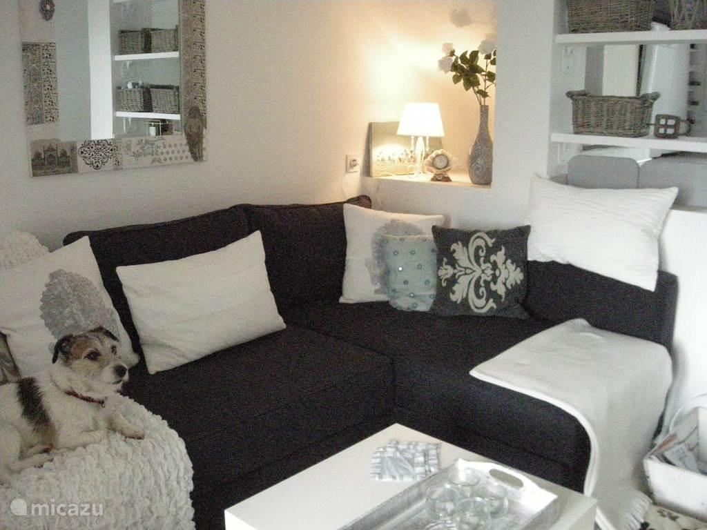 Huiskamer met slaapbank.