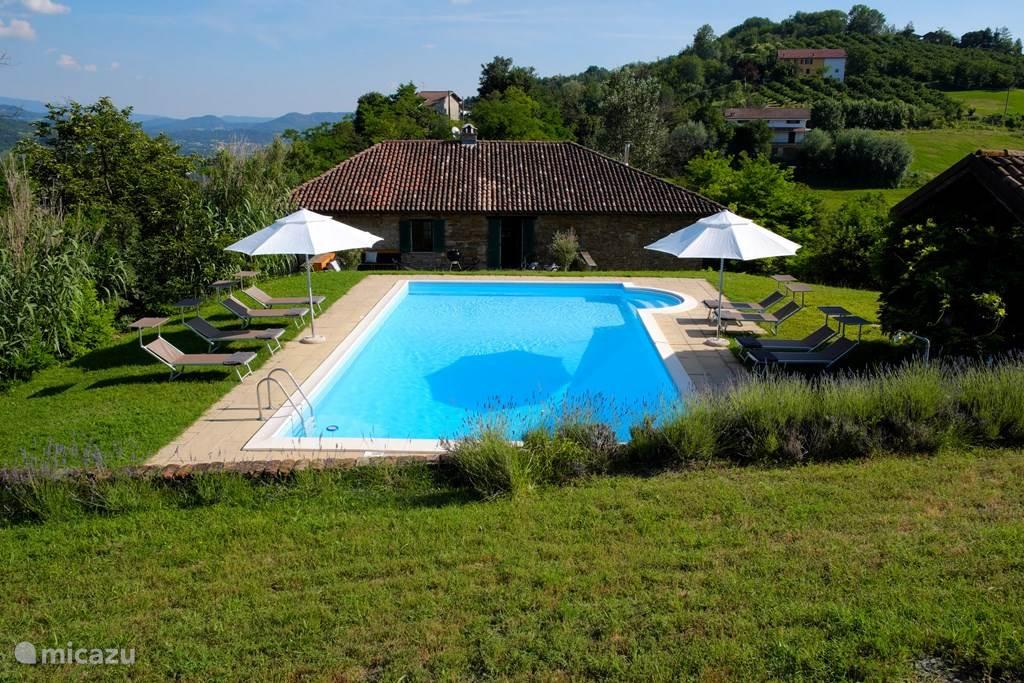 Achterkant van het huis en zwembad