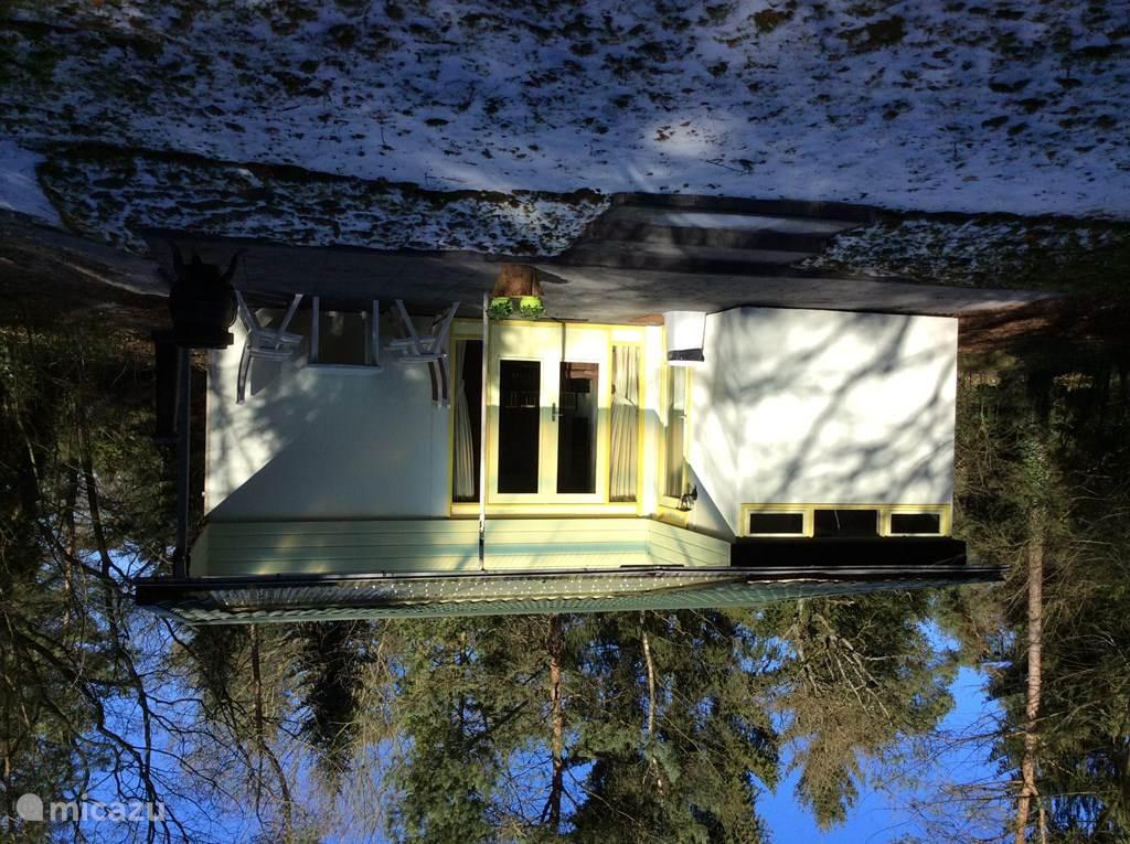 Aanzicht vanuit de tuin, terras met tuindeuren en ingangsdeur.