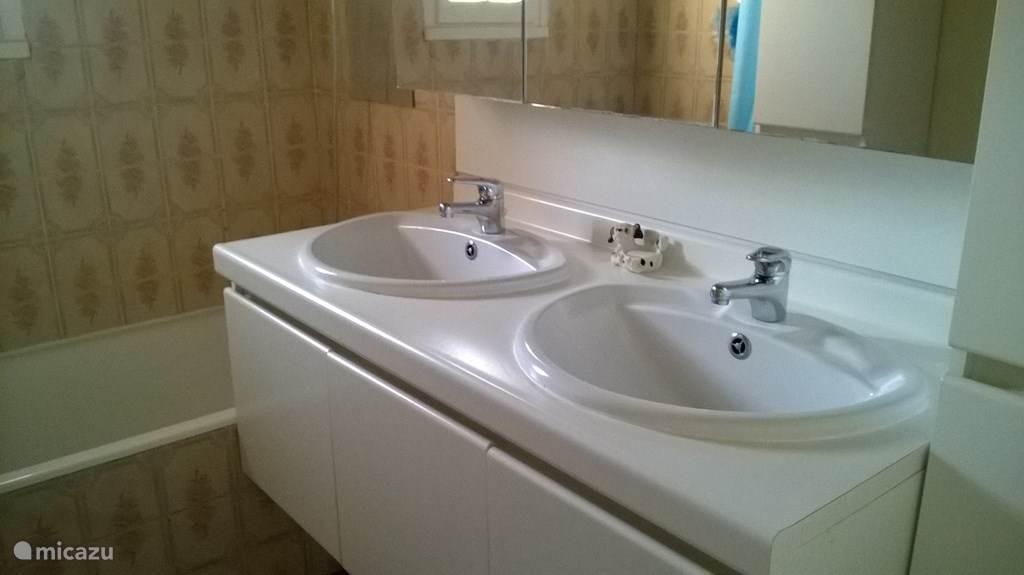 badkamer met douche in bad en dubbele lavabo