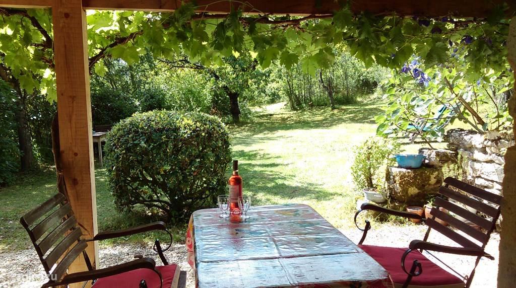 De tuin gezien vanaf het overdekt terras