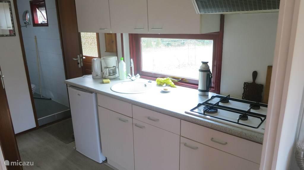 Keuken met gasfornuis, magnetron-oven en koelkast