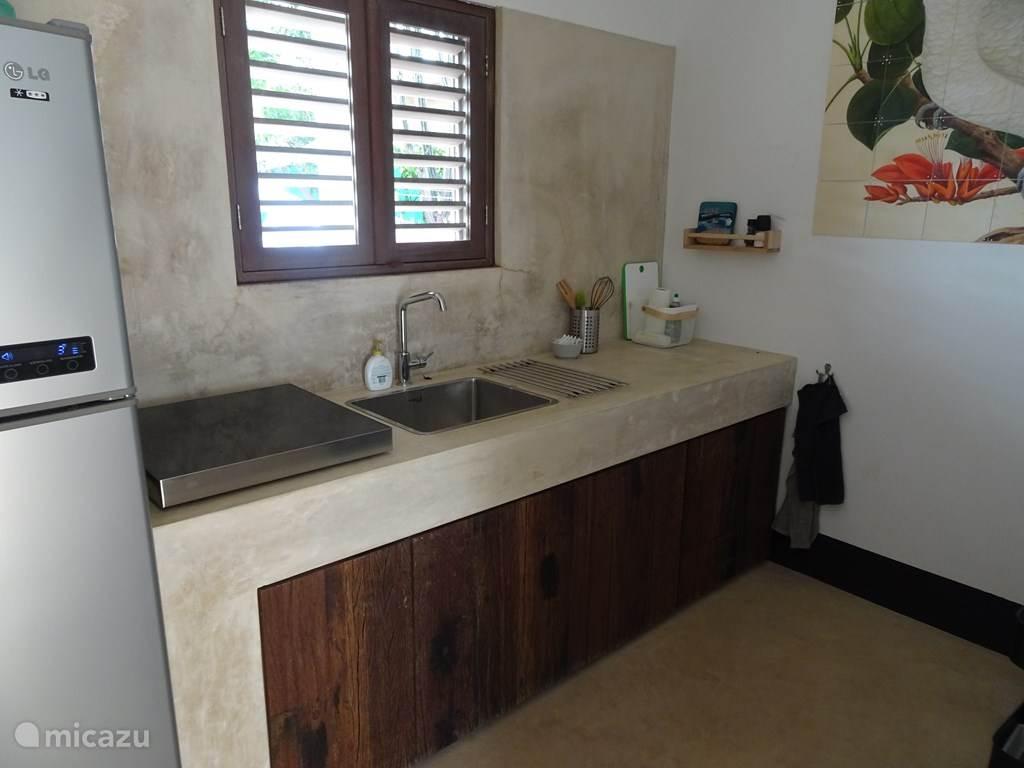Keuken met inductie kookplaat en koelkast
