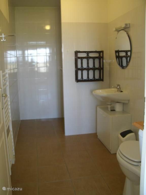badkamer la Blanquette : aangepast voor rolstoelgebruikers met muursteunen in douche en bij toilet
