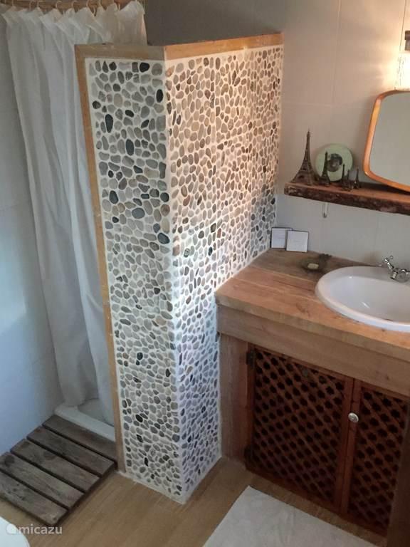 De prive badkamer met inloop douche en toilet.