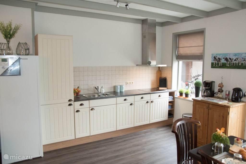 keuken met elektrische kookplaat, koelkast en vaatwasser