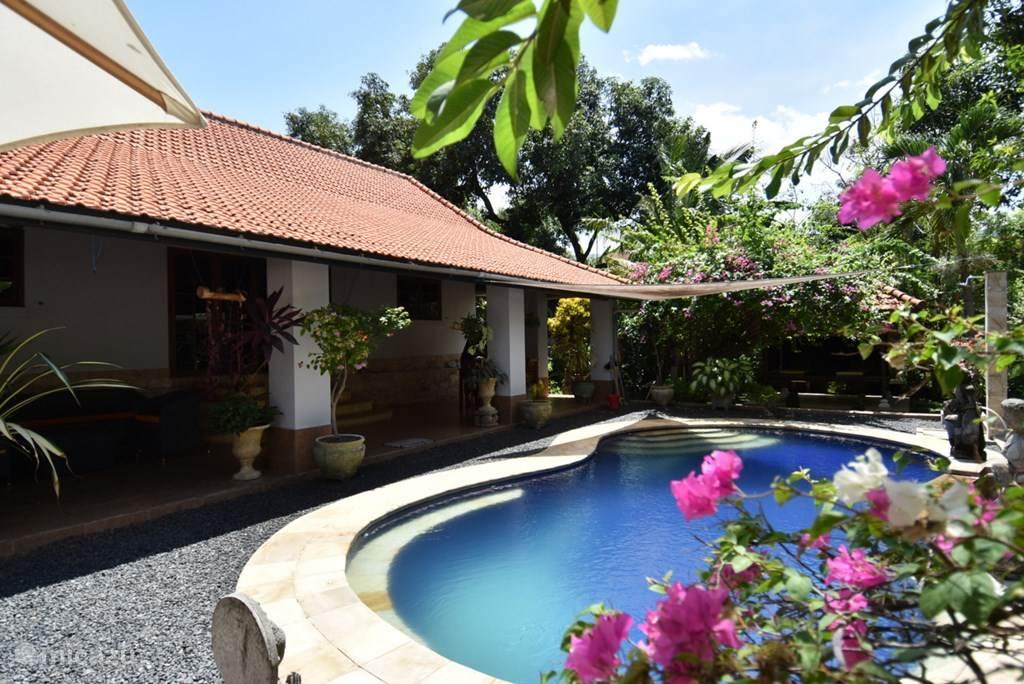 de villa en het zwembad