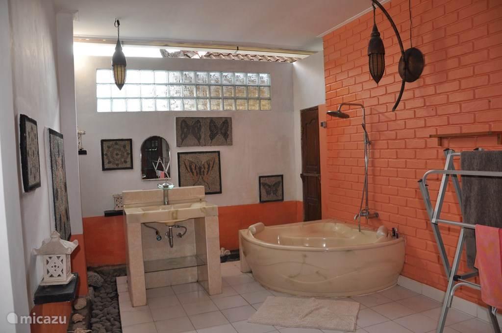 Buiten badkamer met wastafel en twee persoonsbad met regendouche