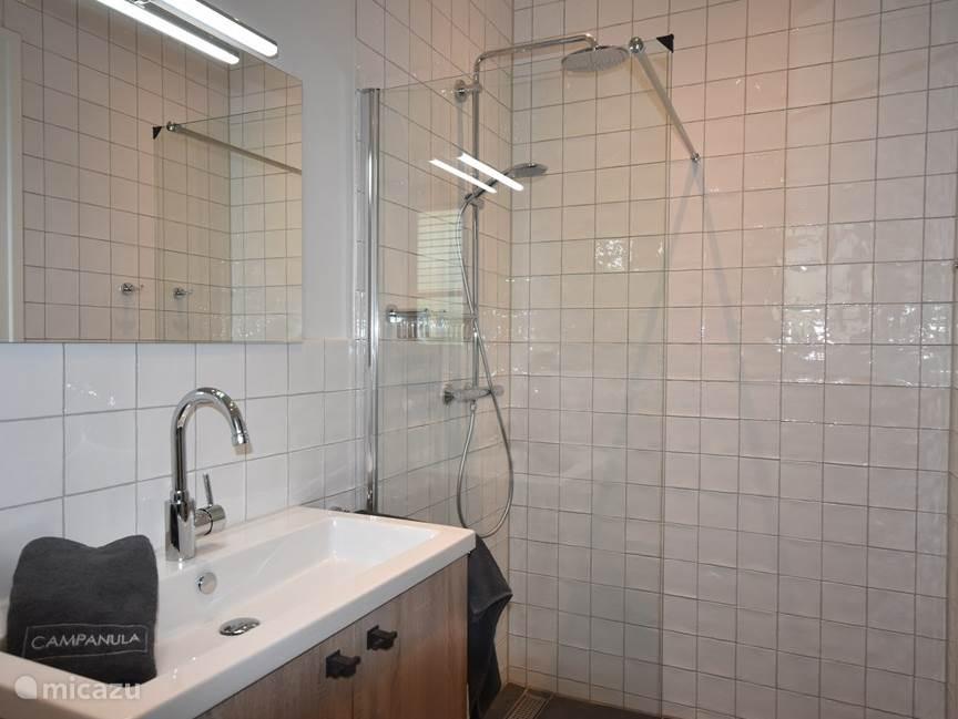 En-suite Badkamer met regendouche, wastafel en toilet.