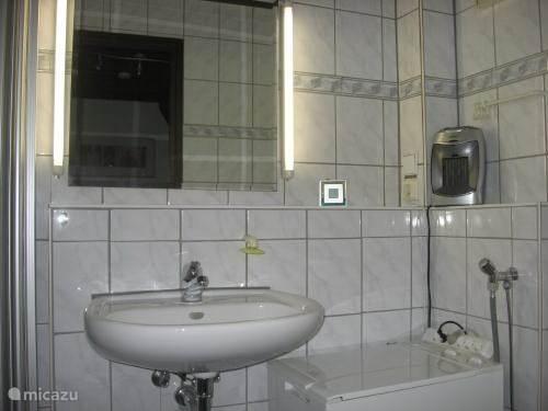 Badkamer met douche,wastafel,toilet en wasmaschine.
