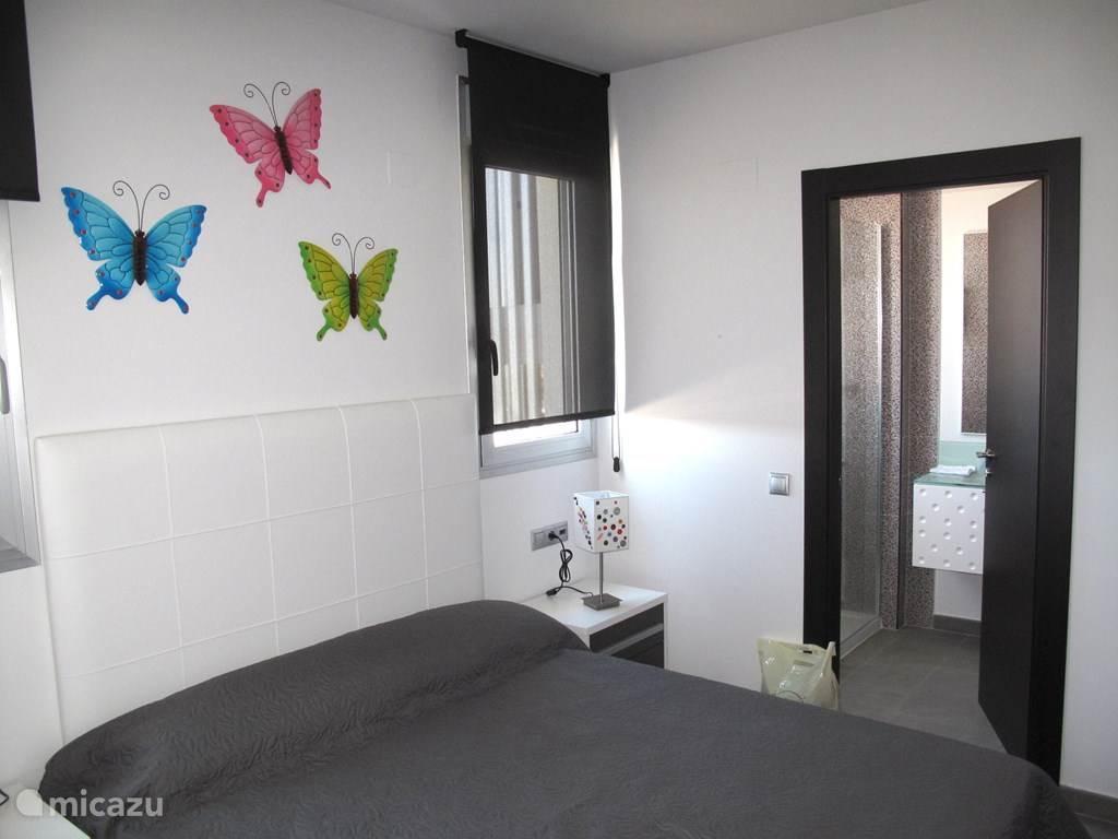 Masterbedroom met eigen badkamer.