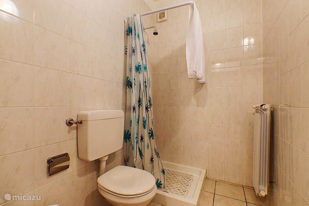De badkamer met douche, bidet en toilet.