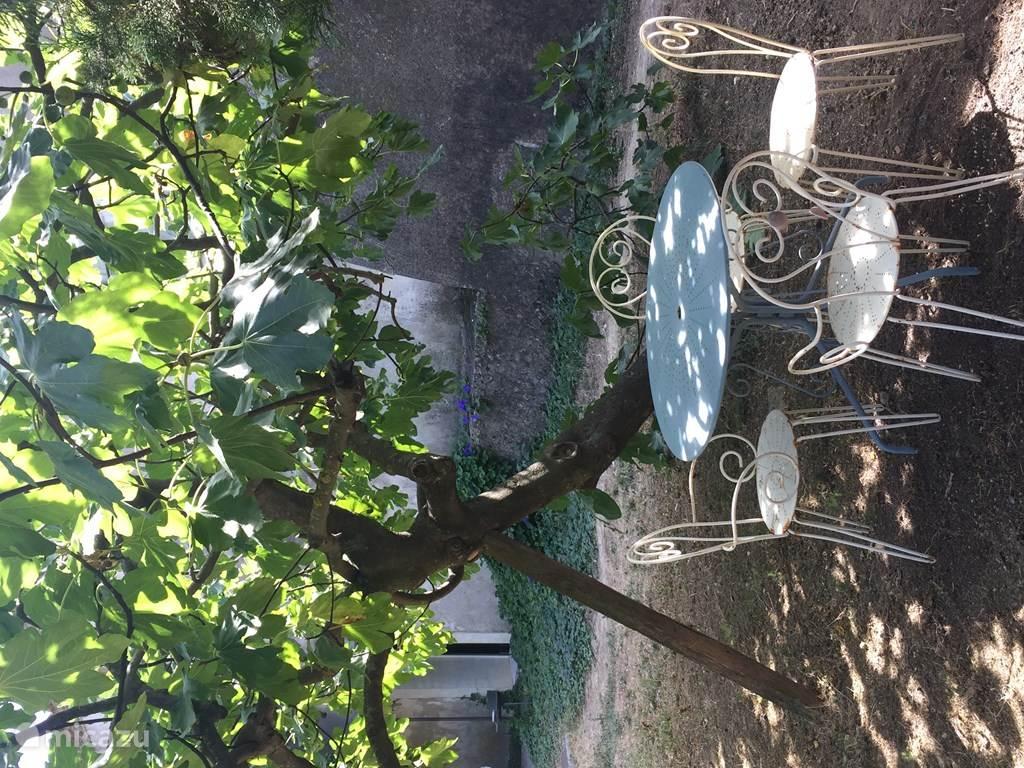 Een zitje in de tuin van Gite des Espagnols
