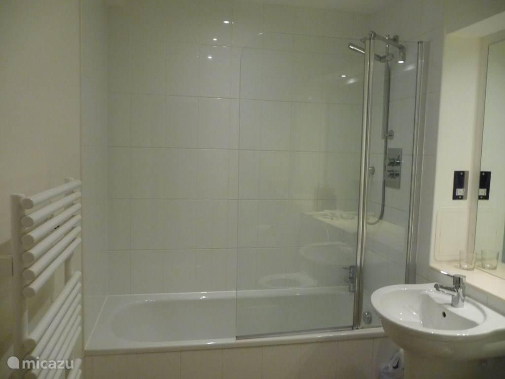 badkamer met wc, bad en douche