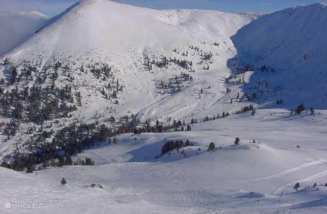 Beautiful wide slopes with plenty of snow.