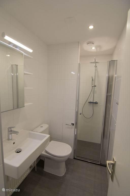 Gloednieuwe badkamer met inloopdouche