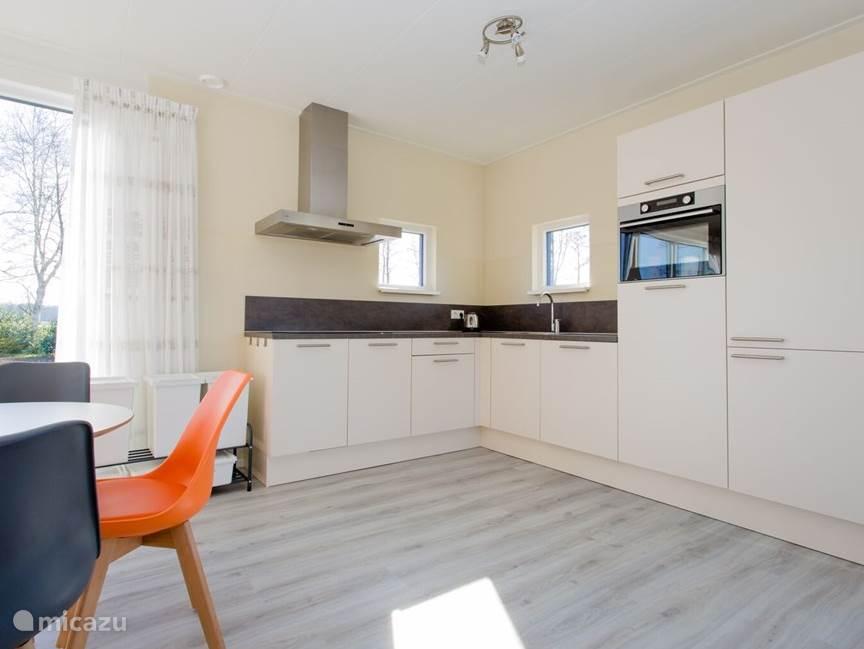 Keuken met inductie, vaatwasmachine, koelkast en combi  oven.